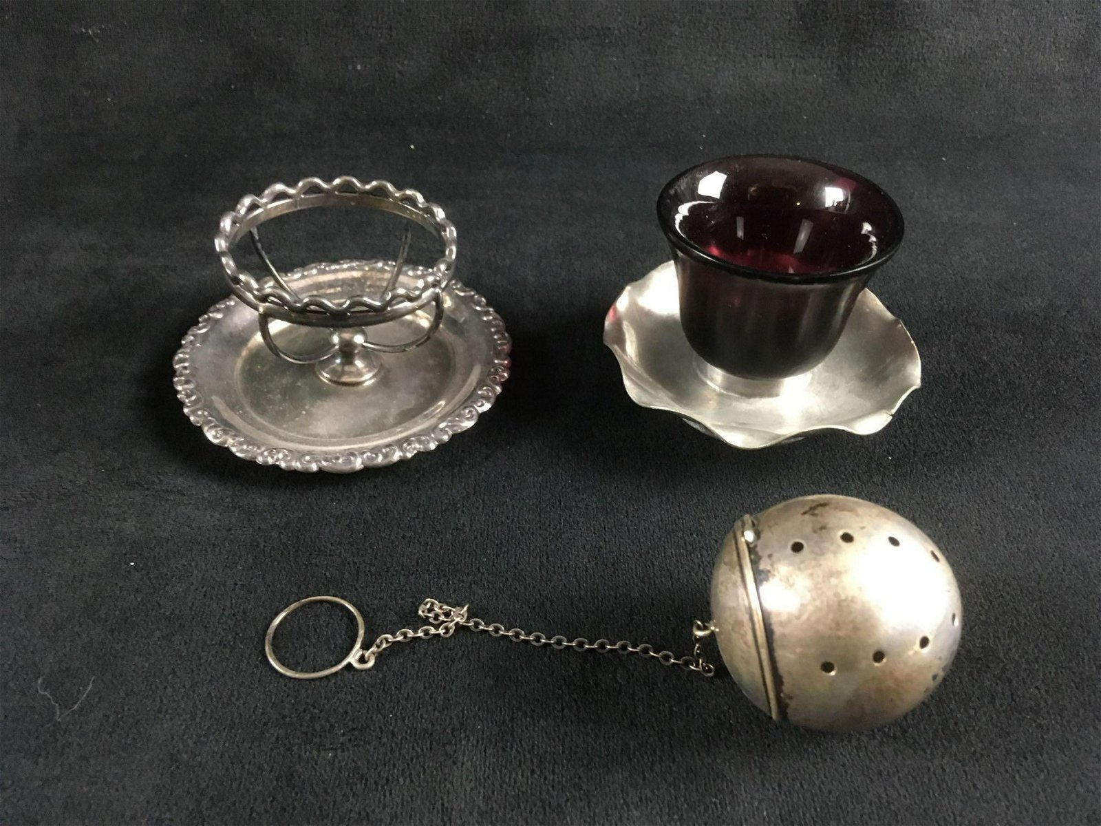 Vintage Breakfast Set of Tea Infuser and Egg Stand and