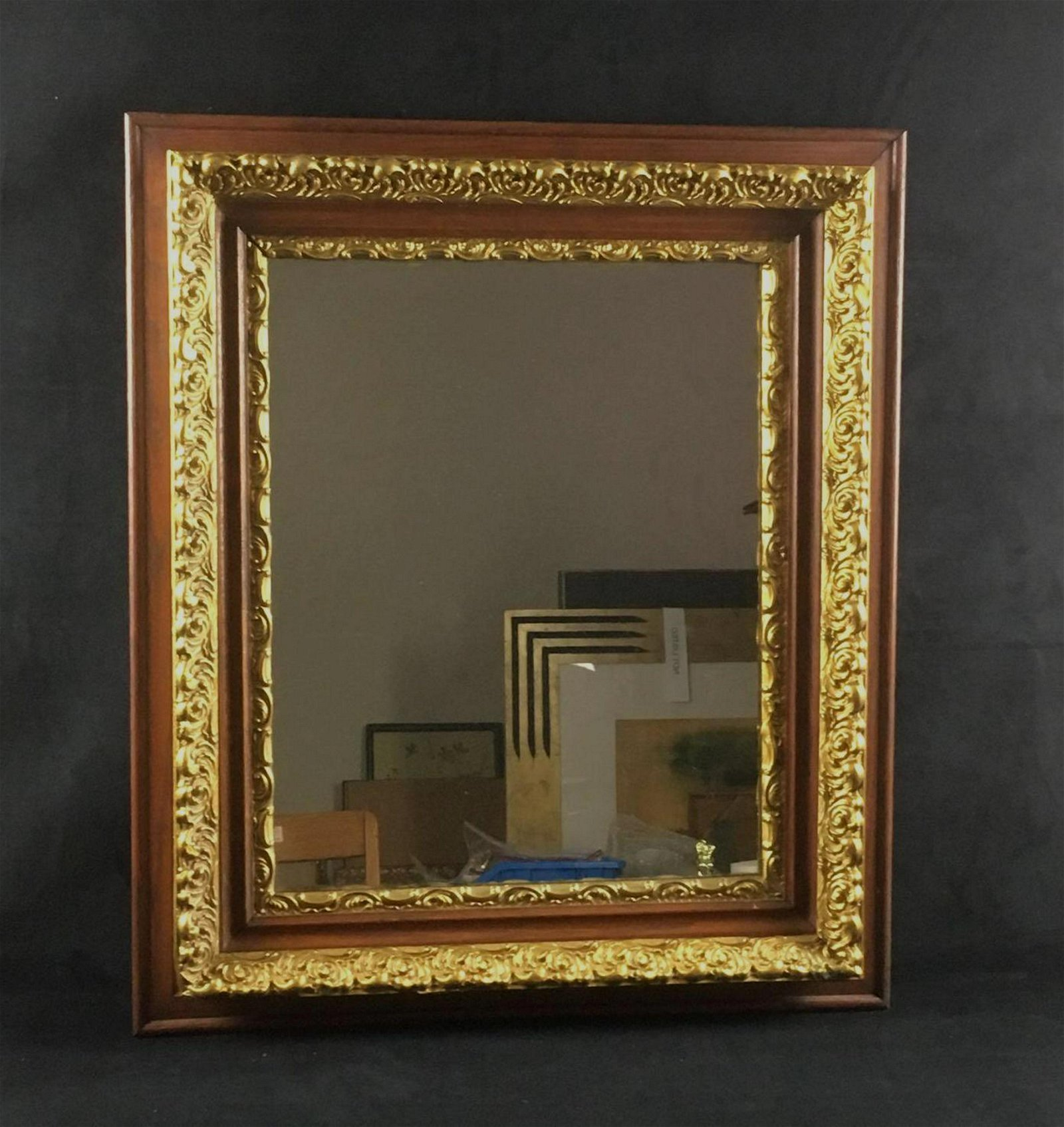 Wall Mirror Mounted in Vintage Carved Built up Wood