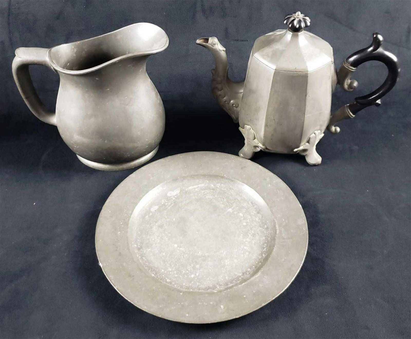Set of Pewter Plate Footed Teapot and Pitcher