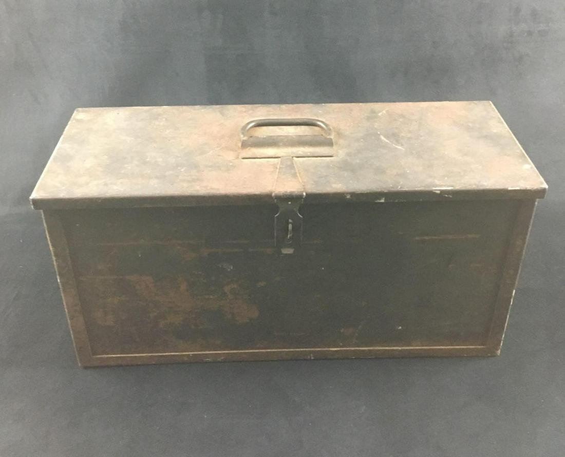 Vintage Military Style Steel Tool or Material Box