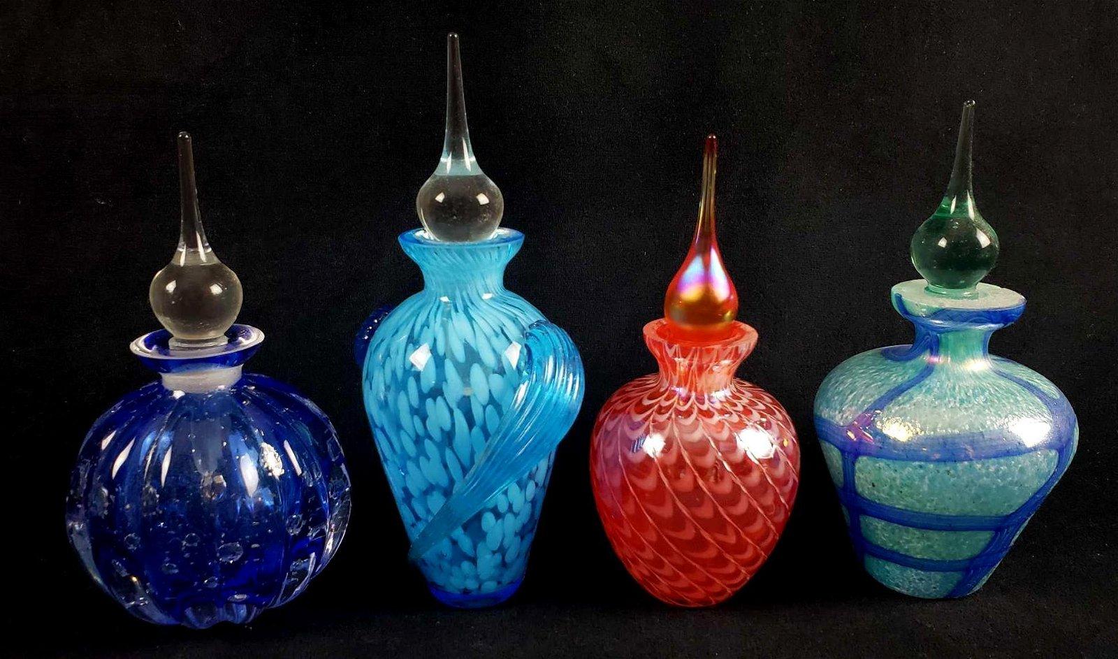 BLUE ART GLASS PERFUME BOTTLE SIGNED