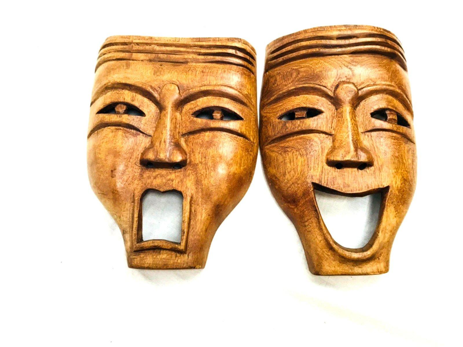 Vintage Tiki Style Comedy Tragedy Mask