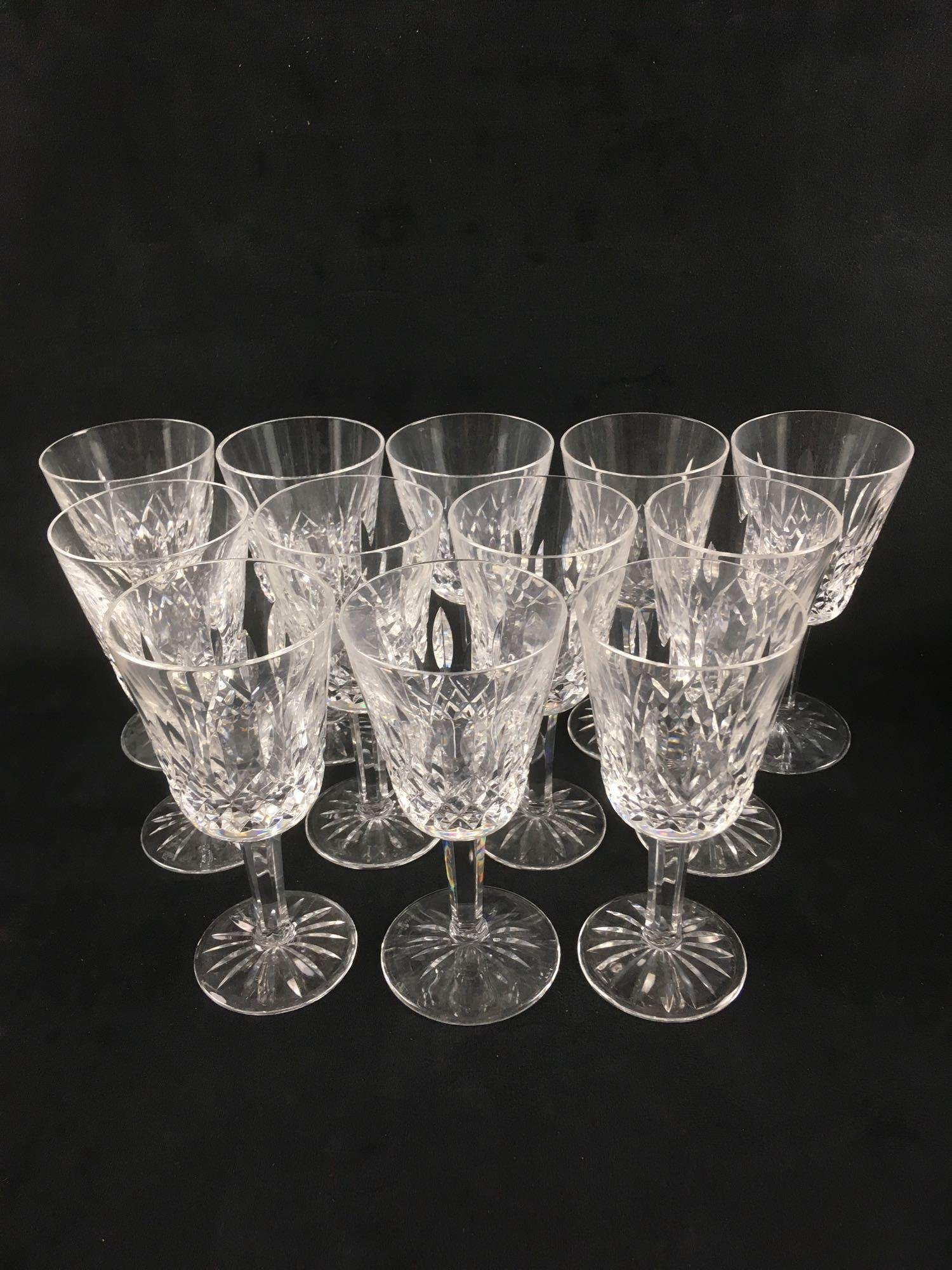 12 Signed Waterford Crystal Lismore Wine Glasses