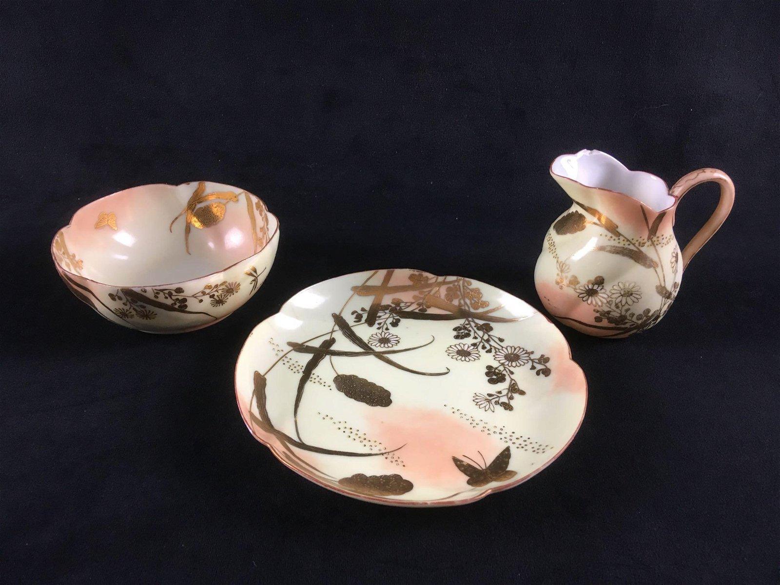 Mid Century Modern Porcelain Dessert Set 3 Pieces