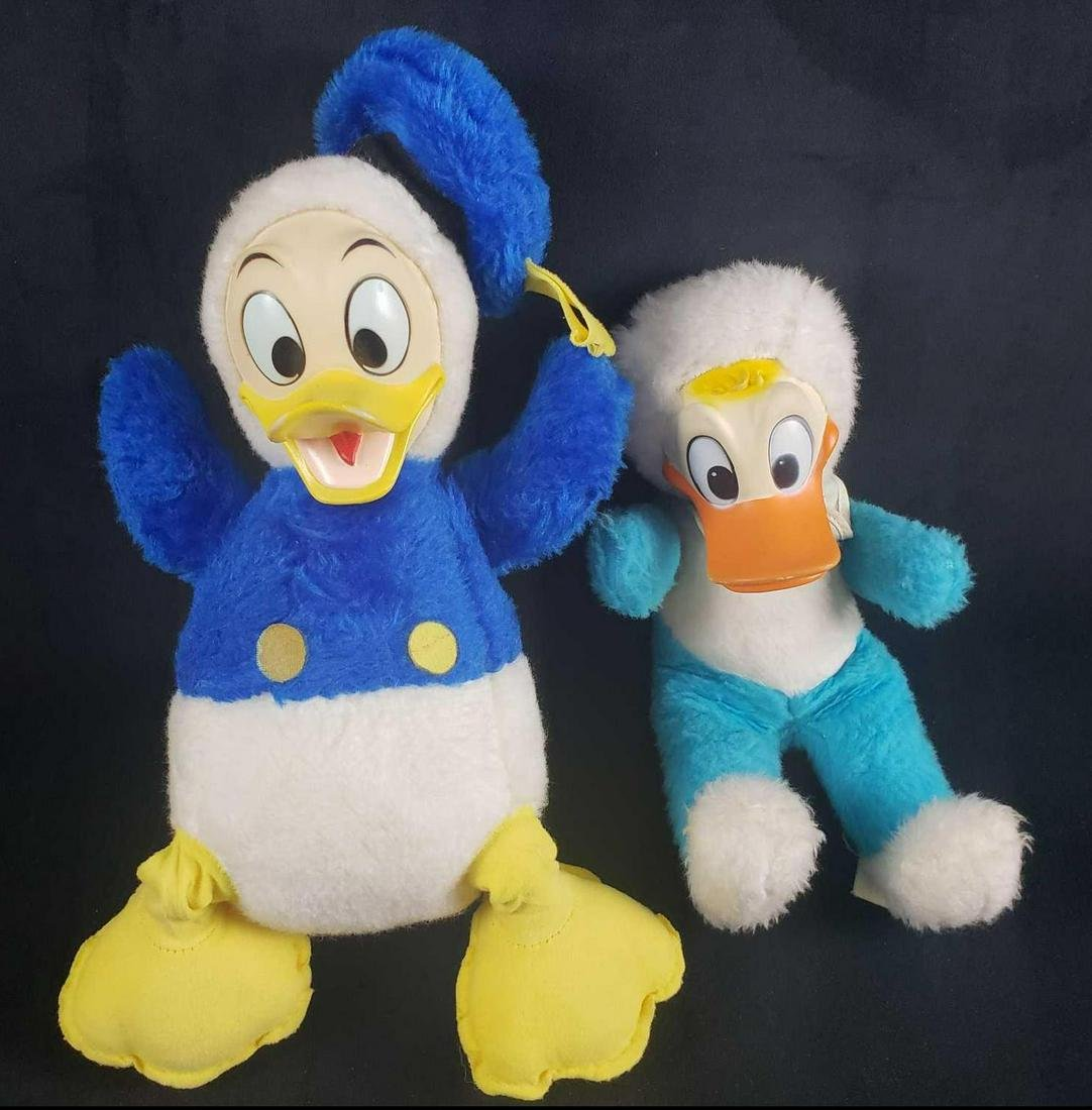Lot of Two Vintage Donald Duck Rubber Face Stuffed