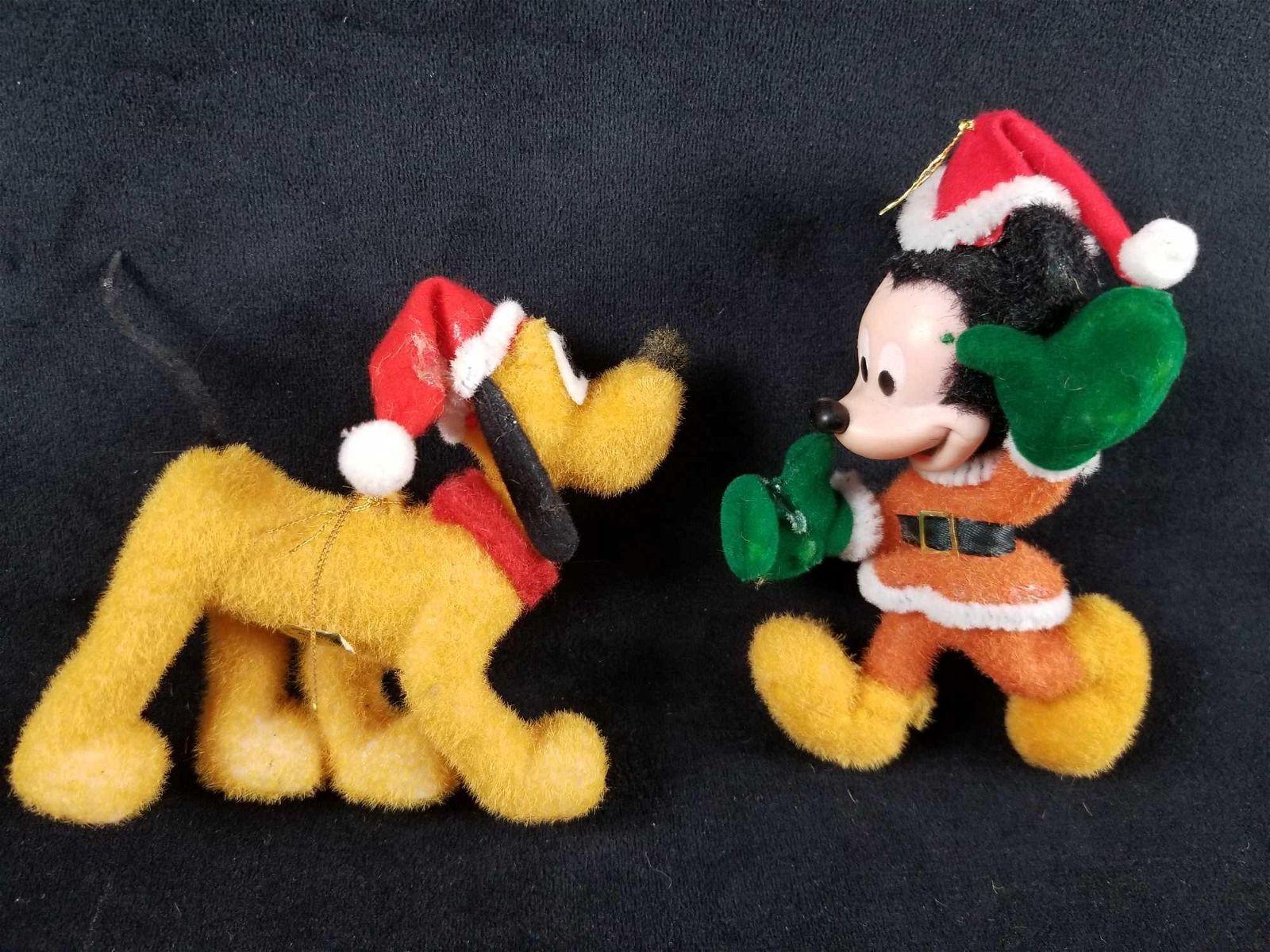 Disney Fuzzy Santa Mickey And Pluto Christmas Ornaments