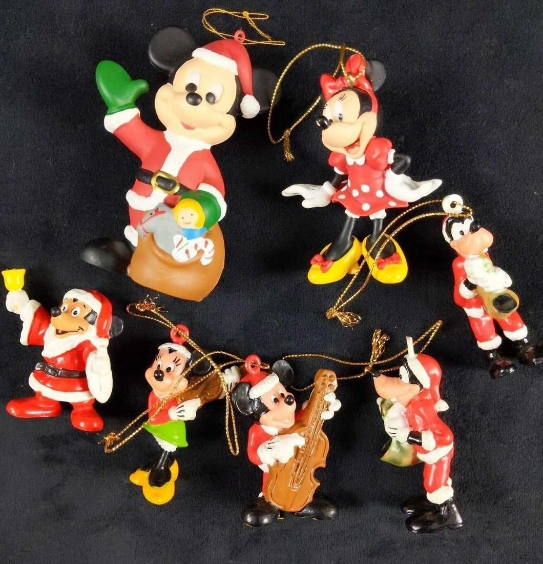 Mickey And Friends Christmas Ornaments Santa Hat Lot Of