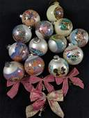 Vintage Disney Glass Round Ornaments and Bows Lot of 17