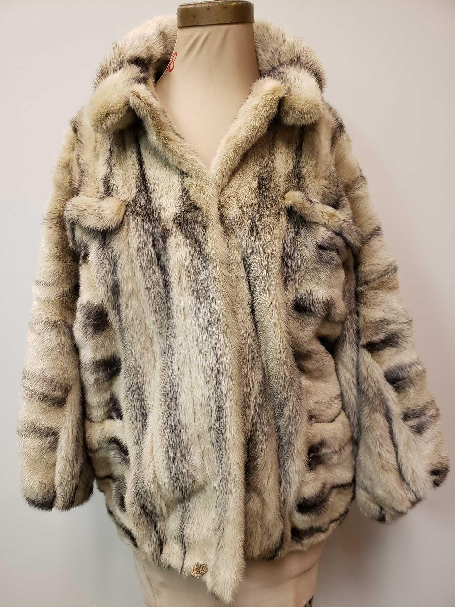Mid Length Black Cross Mink Fur Coat