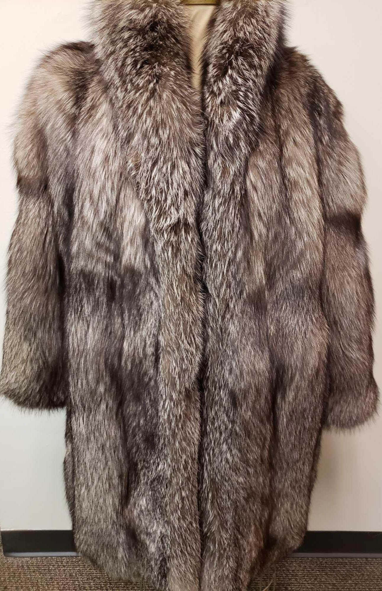 Mid Length Silver Fox Fur Coat