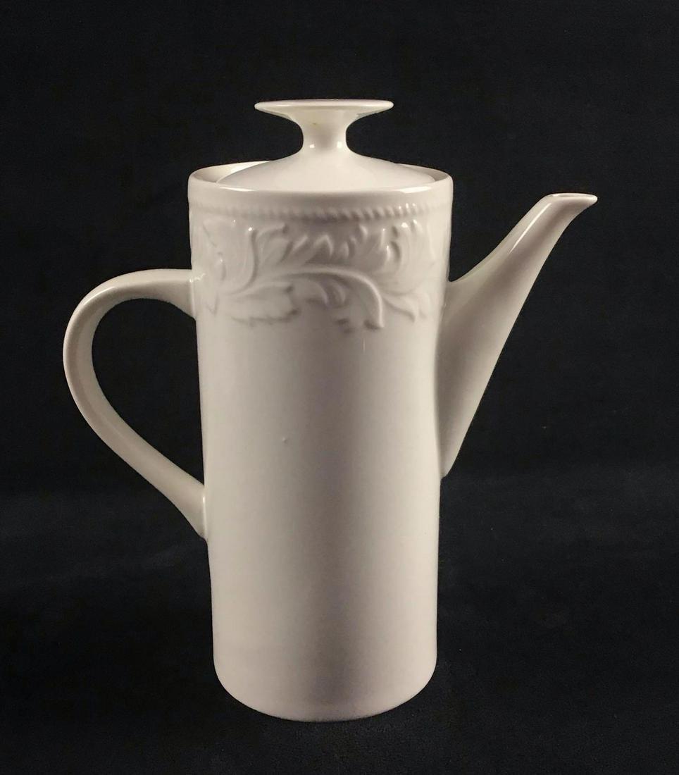White Garland Stoneware Coffee Pot