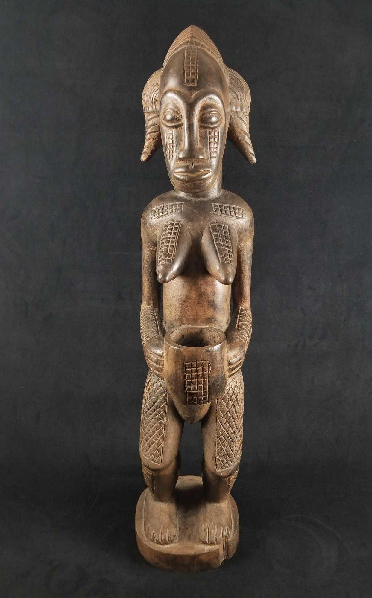 African Carved Wood Female Fertility Figure