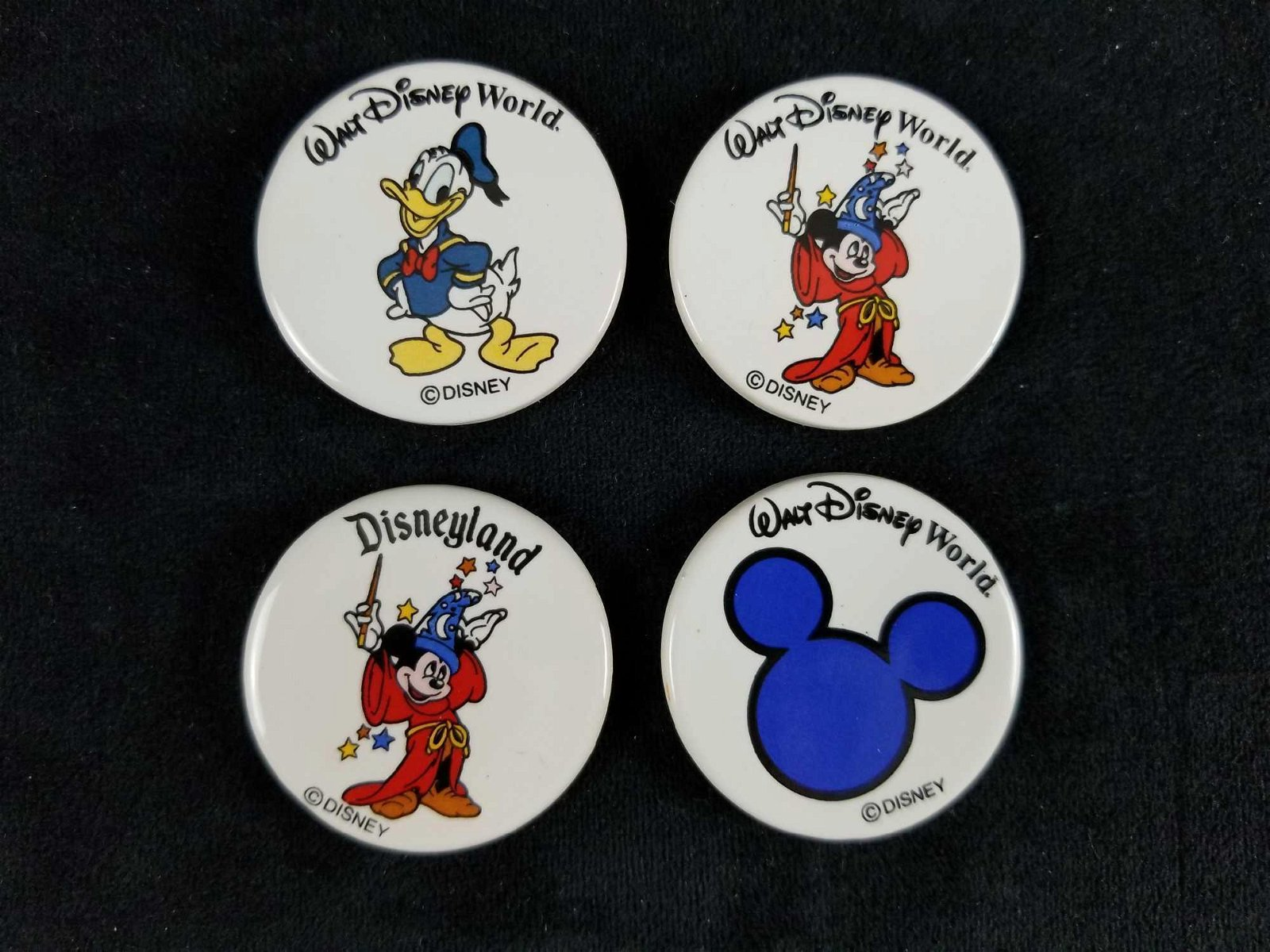Vintage Disney Ceramic Round Refridgerator Magnets Lot