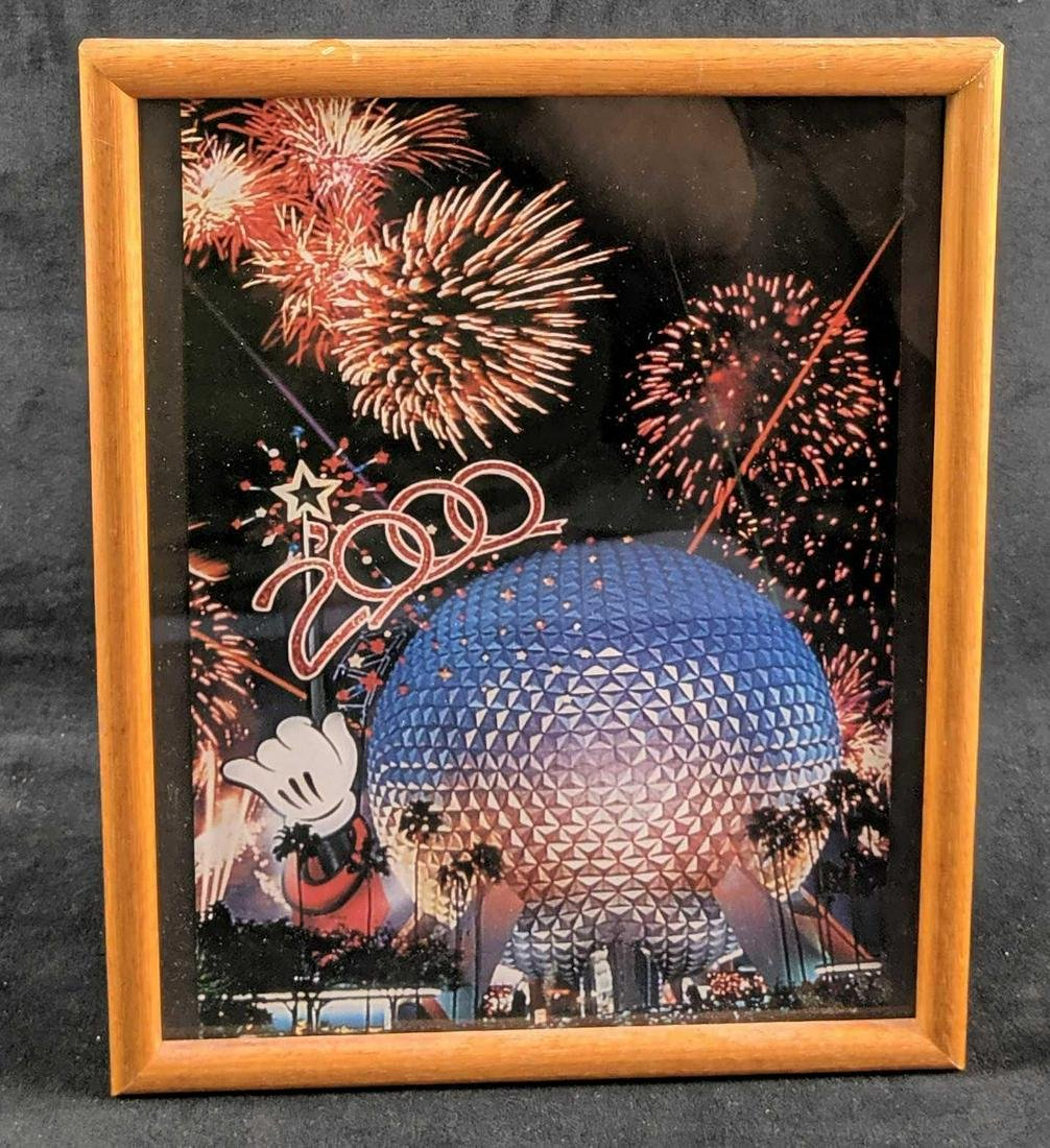 Framed Epcot 2000 Mickey Poster Spaceship Earth