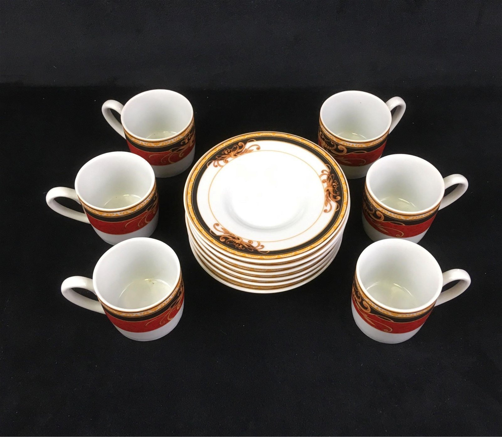 Aiglon Set of Six Espresso Cups and Saucers