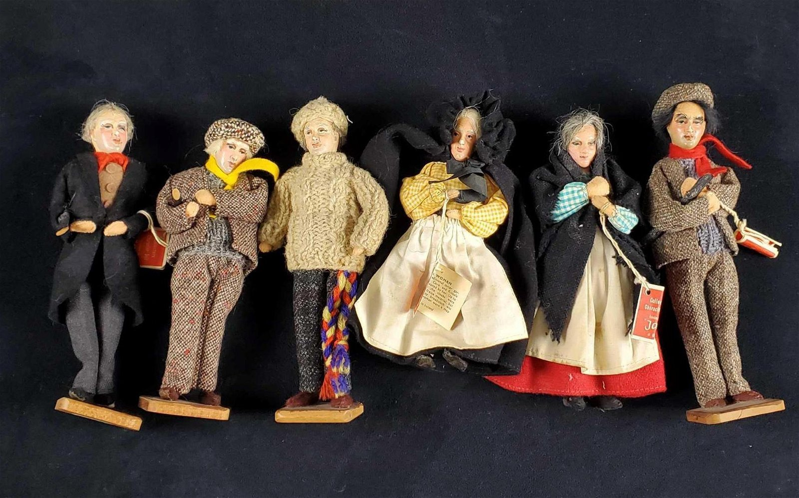 Vintage Dolls Jay Dublin Ireland Handmade Lot Of 6