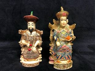 Chinese Empress Emperor Sitting Statues Figurines