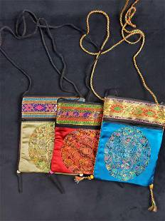Vintage Lot Of Three Chinese Evening Purses A