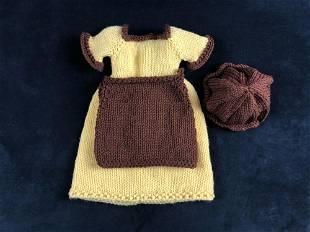 Vintage Dress Crochet Knit Yarn Hat Apron Doll Baby