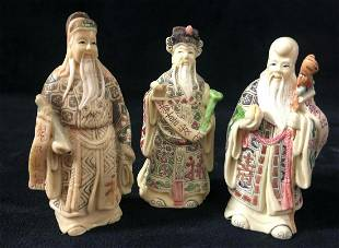 Chinese Art 3 Wise Men Faux Ivory Figurines