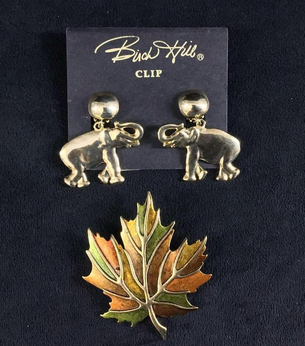 Birch Hill Elephant Earrings Vintage Leaf Brooch