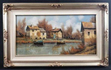 Framed Original Oil on Canvas by Guido Borelli