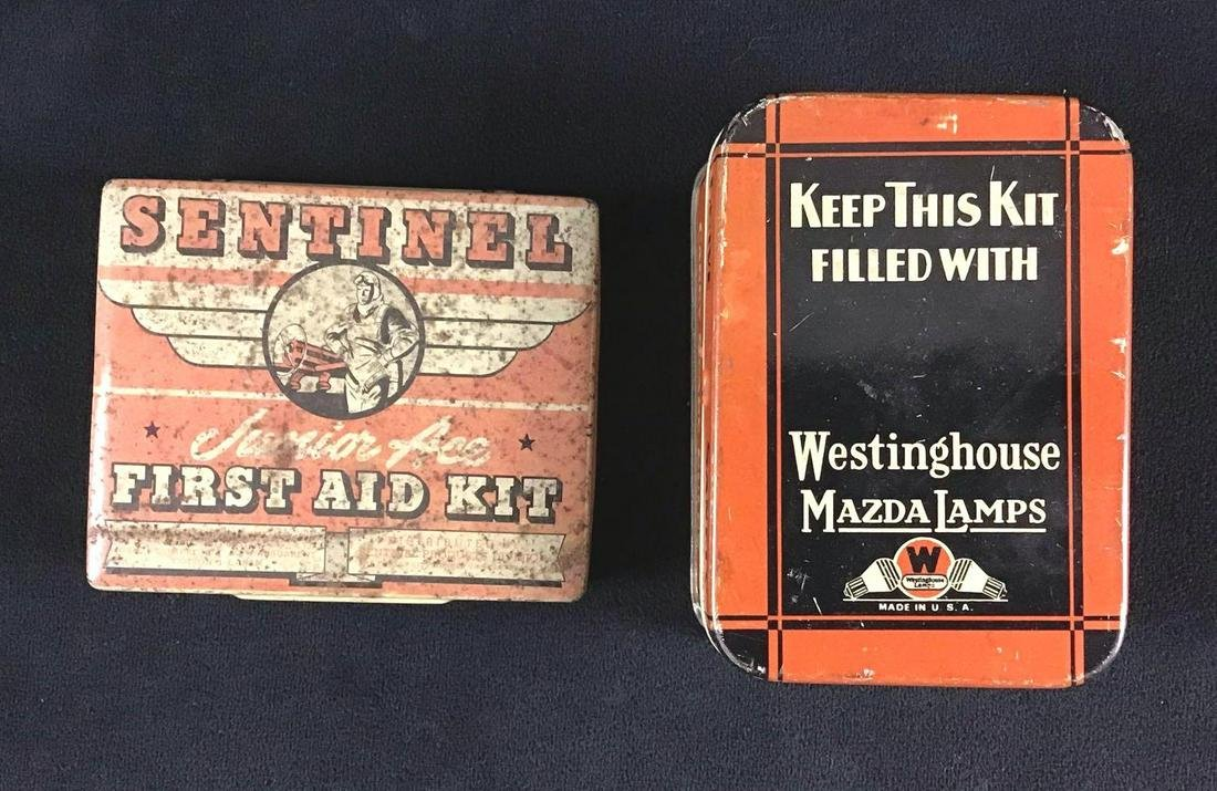 Lot of 2 Vintage 1900s Tins Sentinel First Aid Kit and