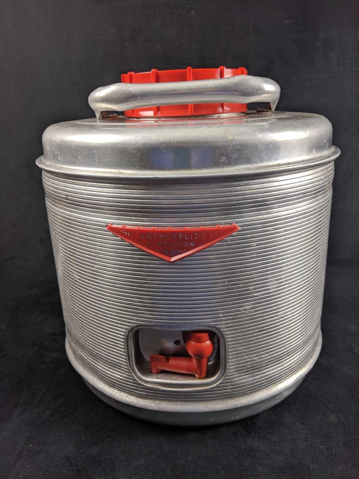 1960s Aluminum Featherflight Water Jug Cooler by