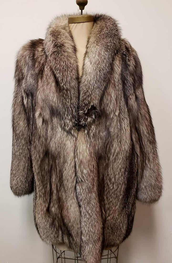 Italian Gray Fox Fur Coat