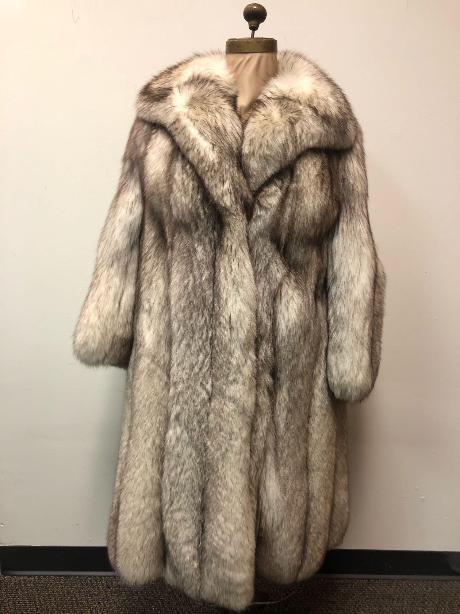 Fashion Fur Fox Coat Blue Full Length