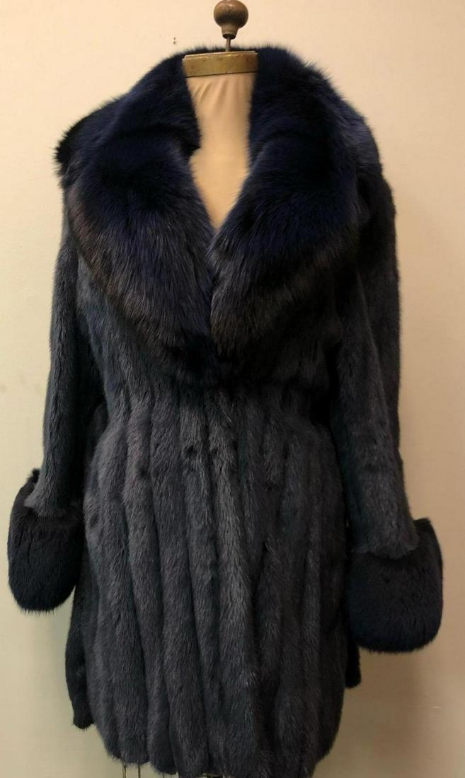 Blue Mink Sterling Fox Collar Fur Coat