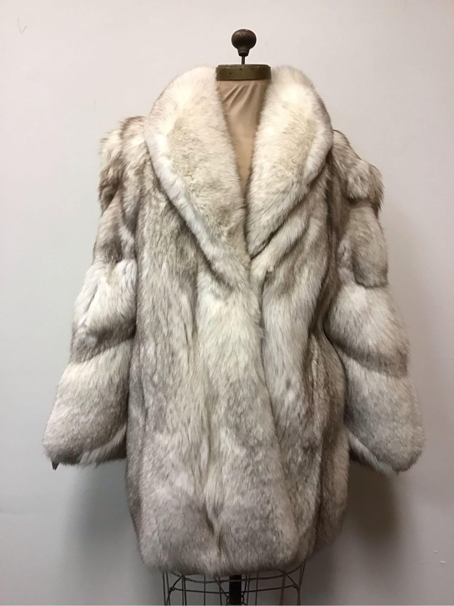 Luxury Blue Fox Fur Coat Jacket Vintage Fashion