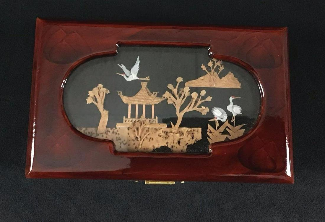 Chinese Art Wooden Jewelry Box Red Crown Cranes A