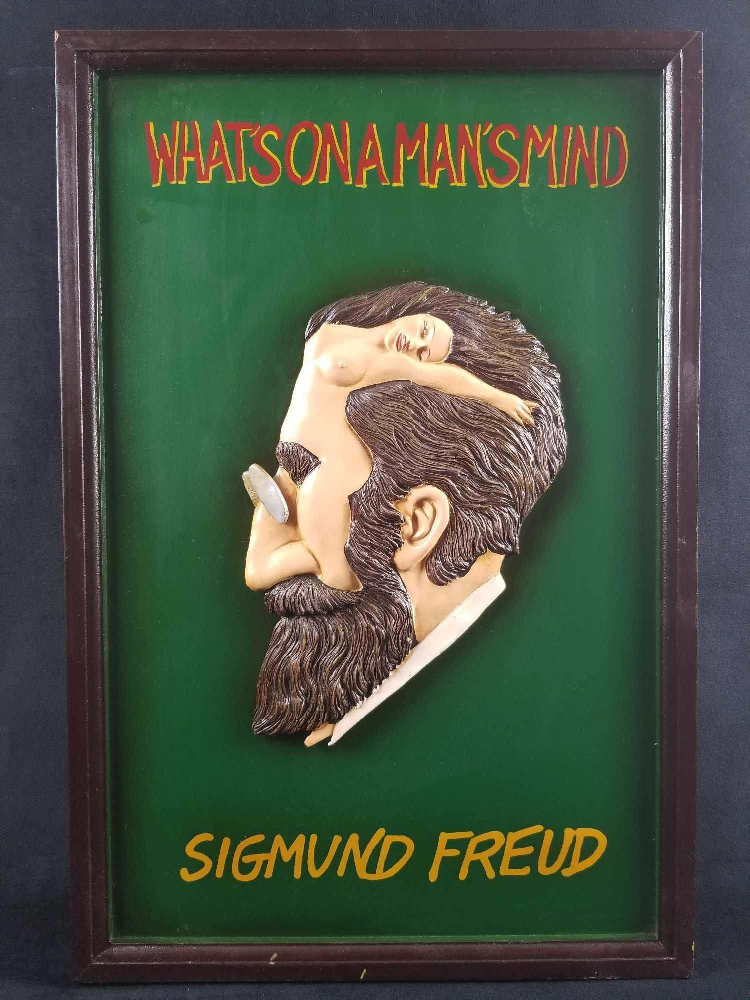 Vintage Hand Painted Sigmund Freud Whats On A Mans Mind