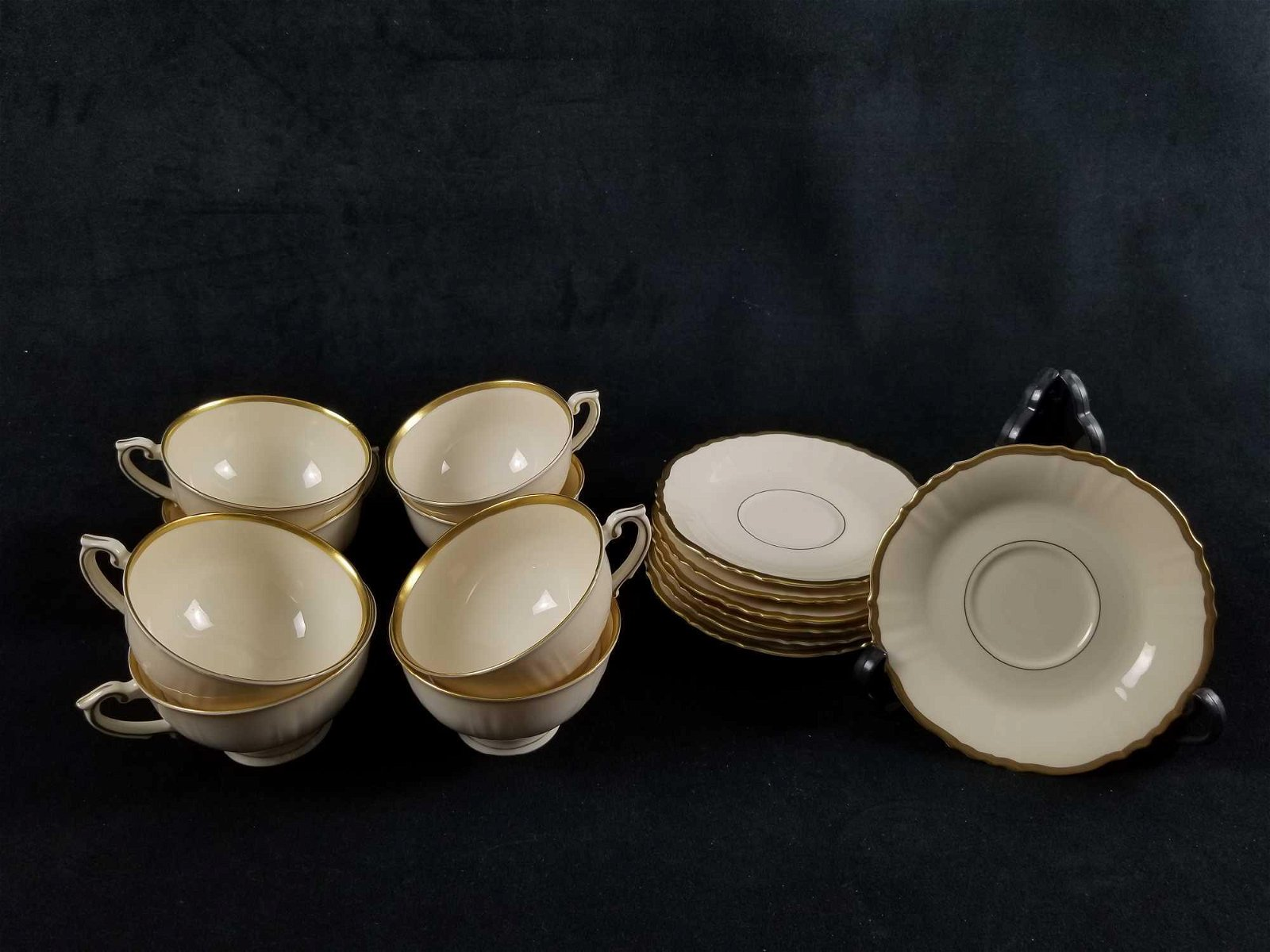 Cream And Gold Old Ivory China Teacup And Saucer Lot of
