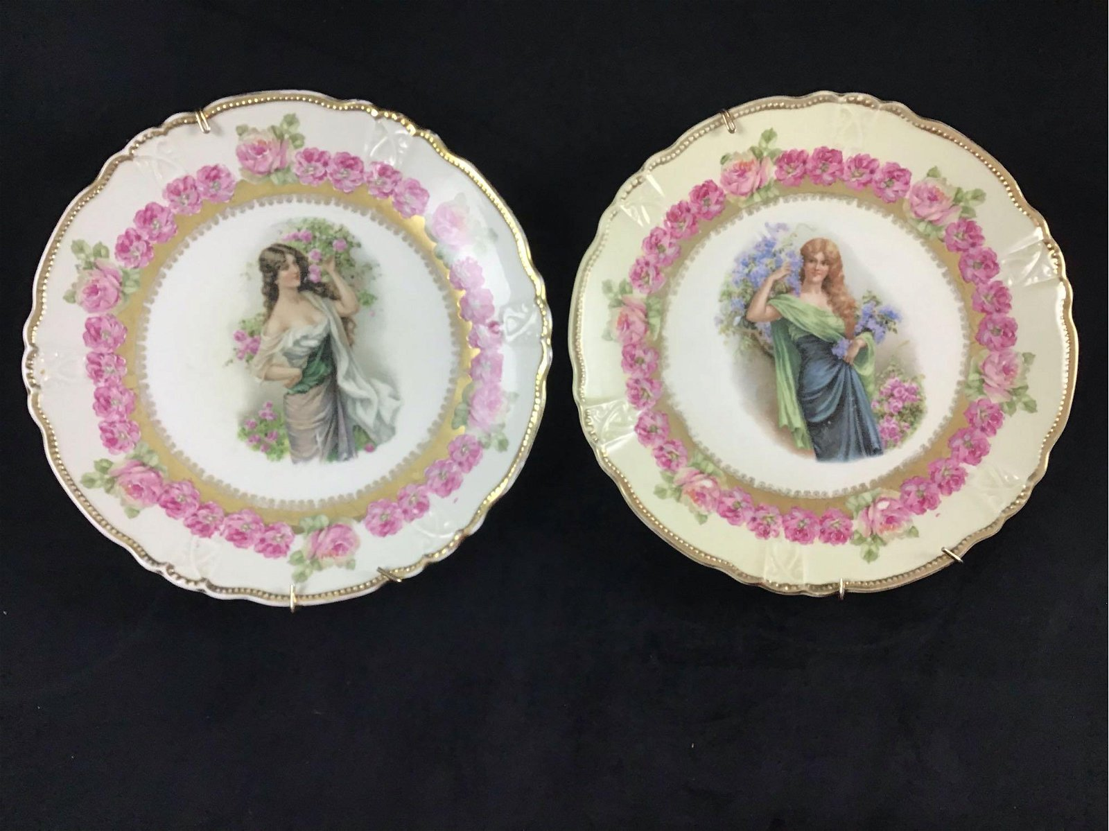 Lot of 2 Crown Germany Circa 1900s Porcelain Plates