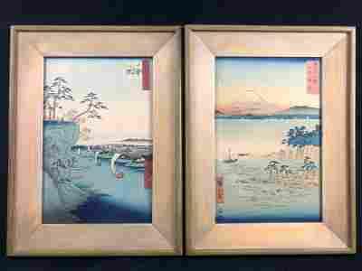 Lot Of Two Utagawa Hiroshige Japanese Woodblock Prints