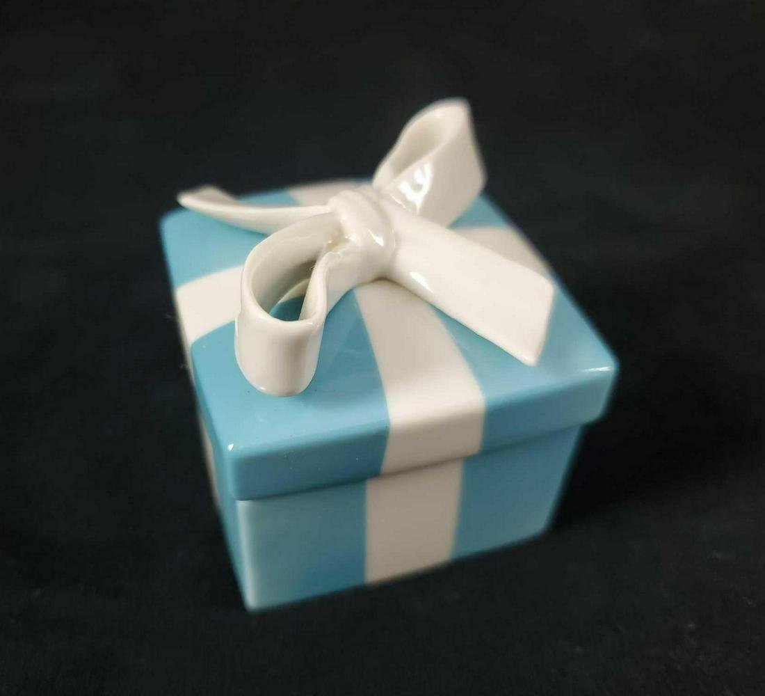 Porcelain Tiffany Blue and White Trinket Box