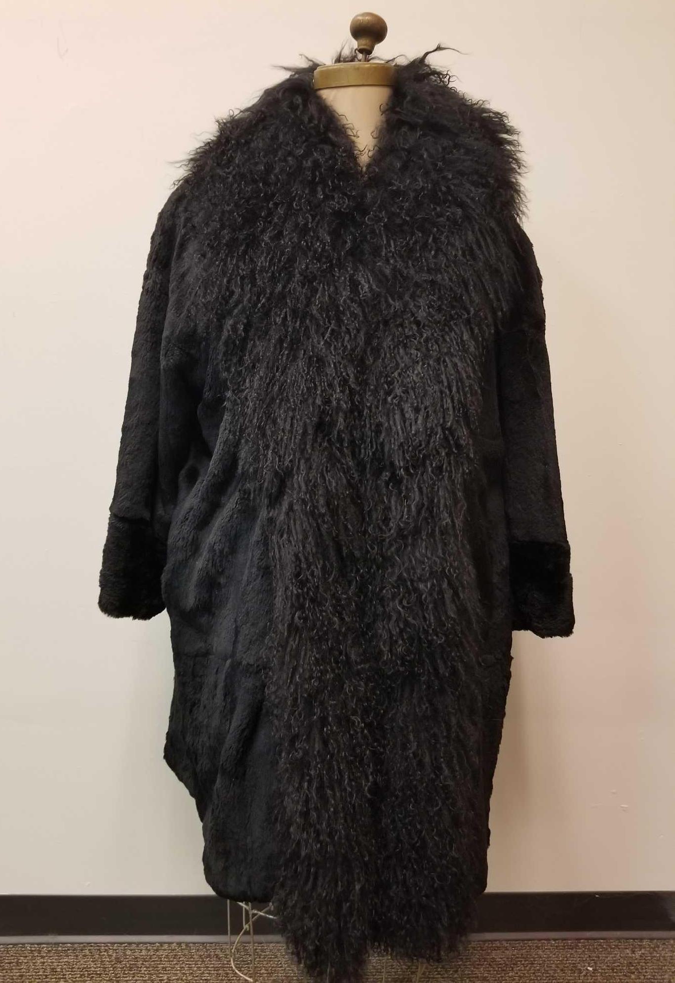 Long Black Rabbit Fur Coat with Dramatic Wool Collar