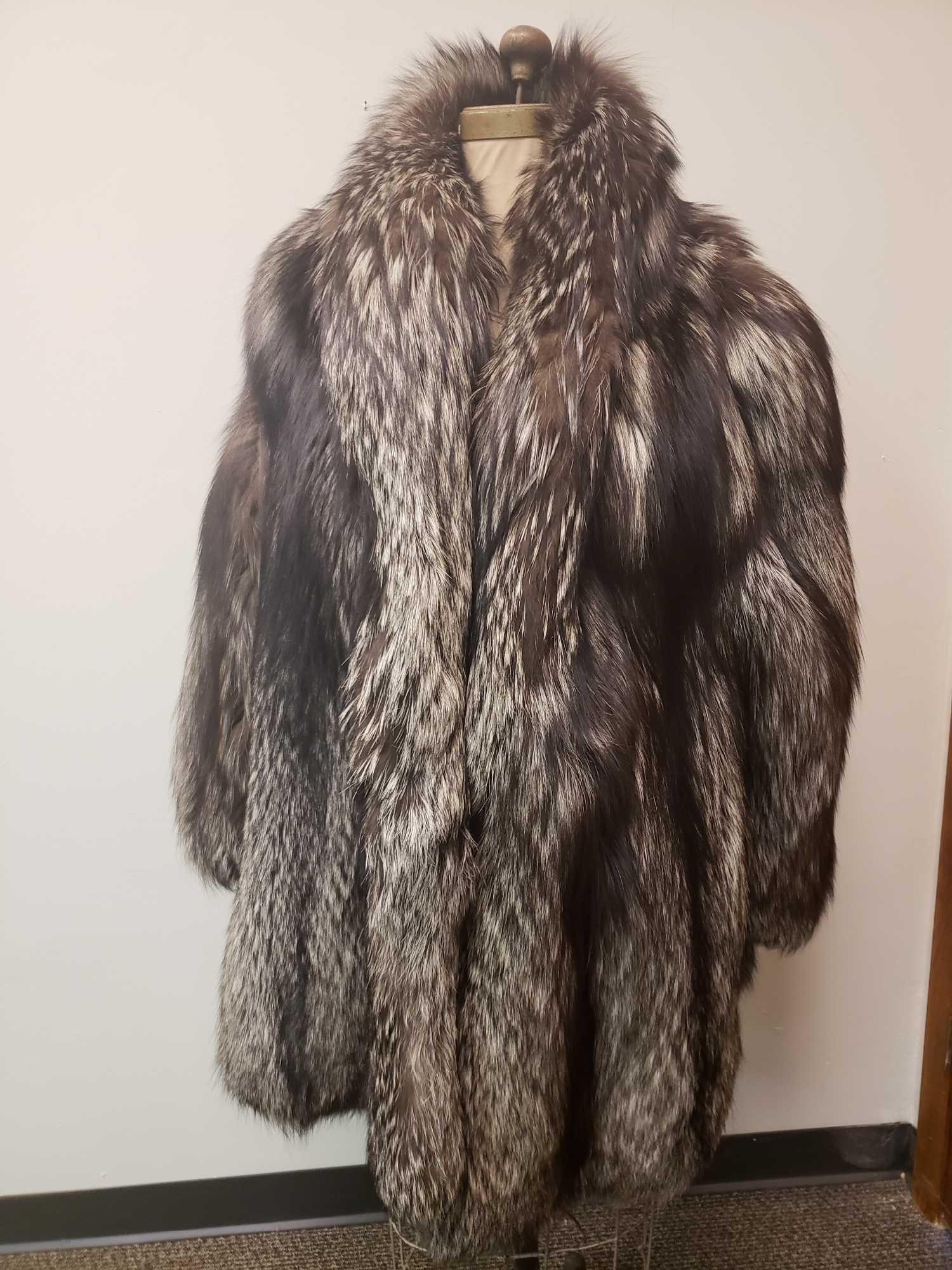 Top Line Pellicceria Italian Silver Fox Fur Coat