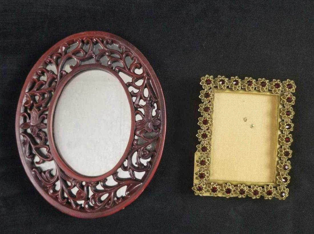 Vintage Picture Frame Mirror Square Oval Wood Metal Red