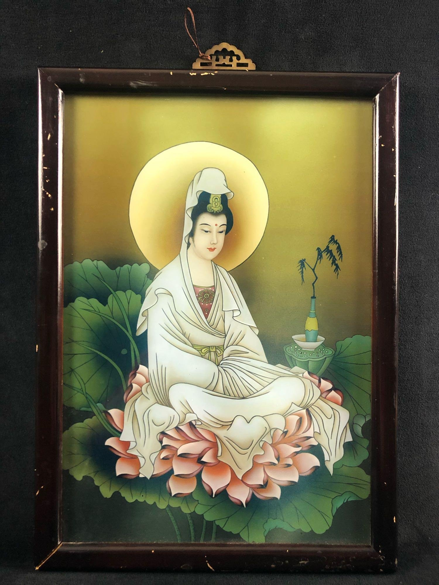 Ancient Chinese Art Print On Glass Women Framed