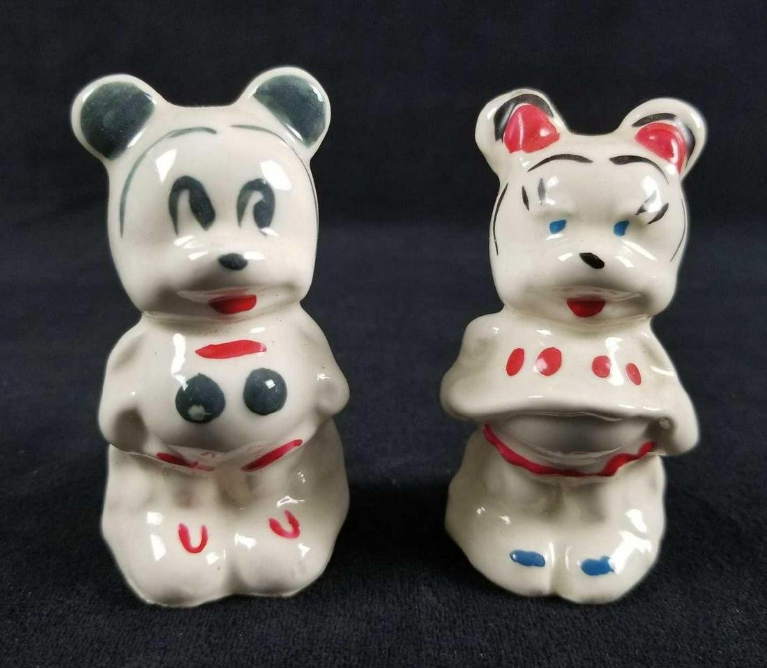 Vintage 1950s Mickey And Minnie Salt And Pepper Ceramic