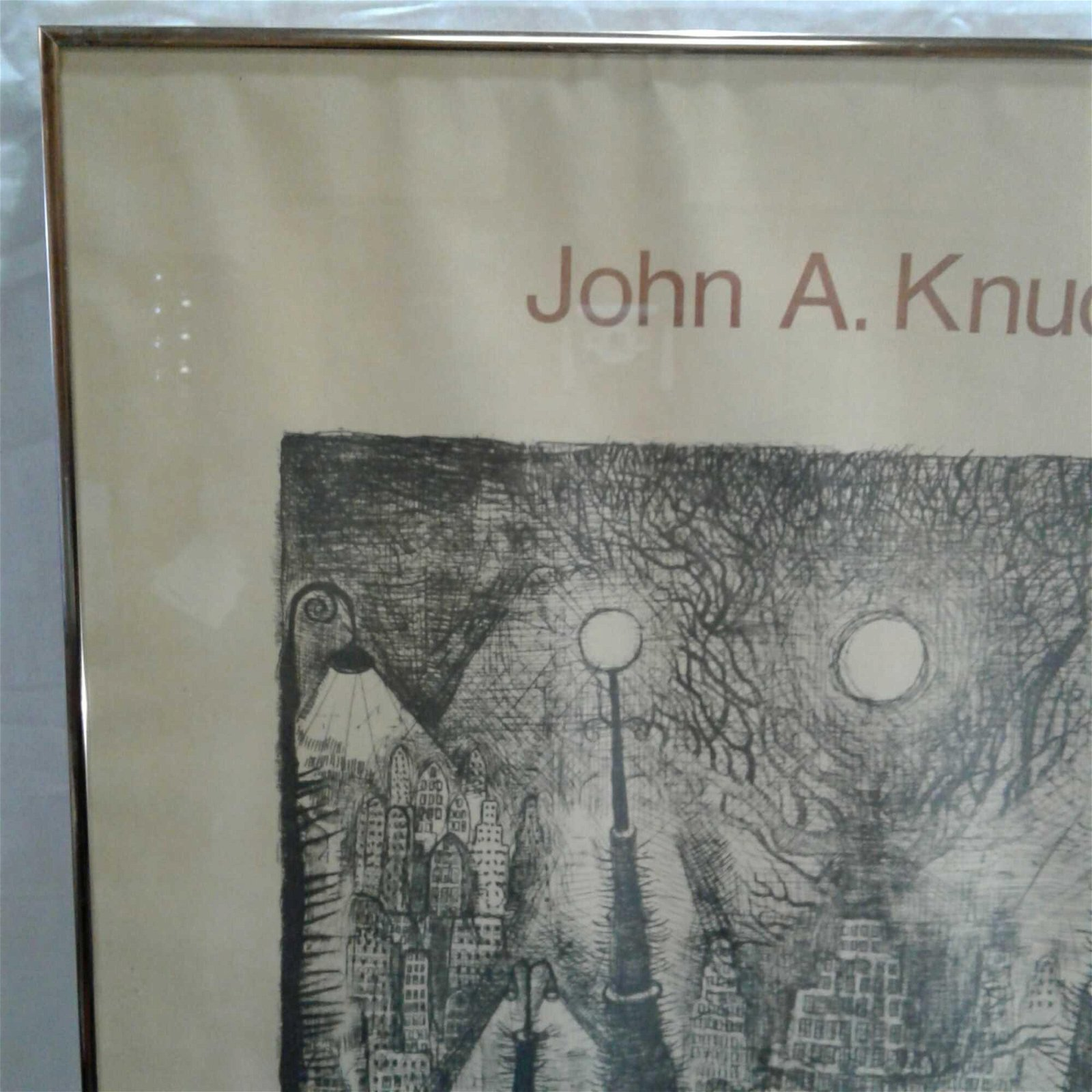"Signed John A. Knudsen Framed Poster of ""The Workshop"