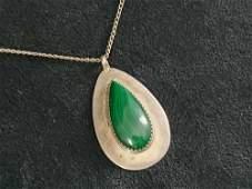 Green Malachite Sterling Silver Navajo Pendant Necklace