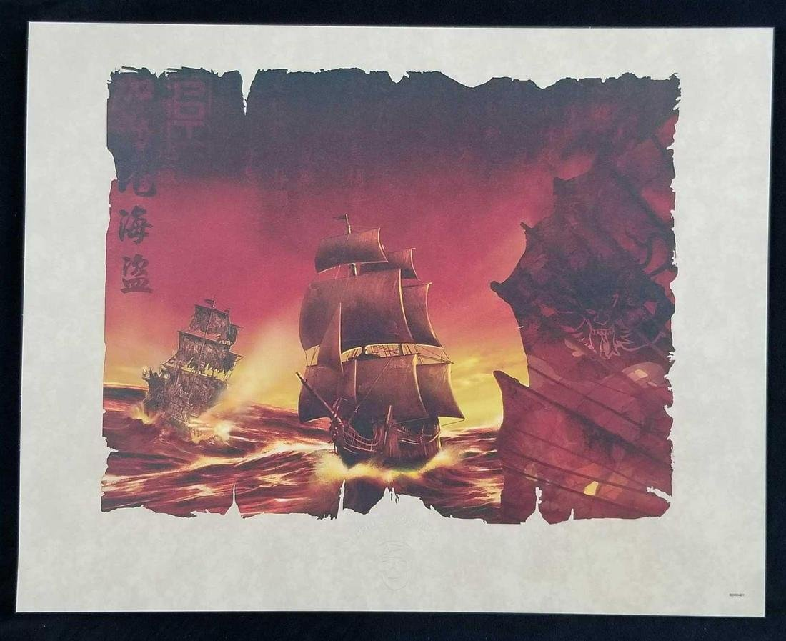 Pirates of the Caribbean Ships Lithograph by Disney