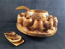 Philippines Hand Carved Wooden Punch Bowl 20 Piece Set