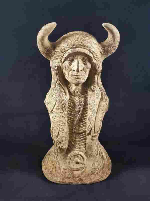 Native Indian Medicine Man Head Bust Statue
