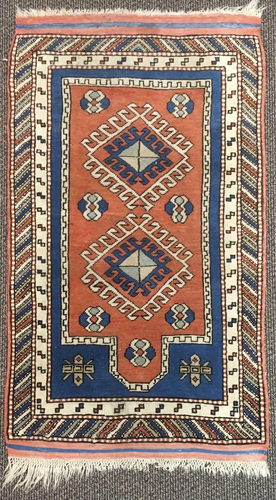 Vintage Hand Woven Wool Turkish Kazak Area Rug