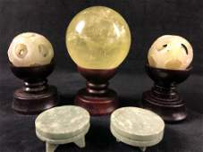 Vintage Chinese Jade Puzzling Sphere  Incense Stands